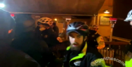 Thumbnail for Washington, DC: Police push #antifa back as they gather around diners during their street march.
